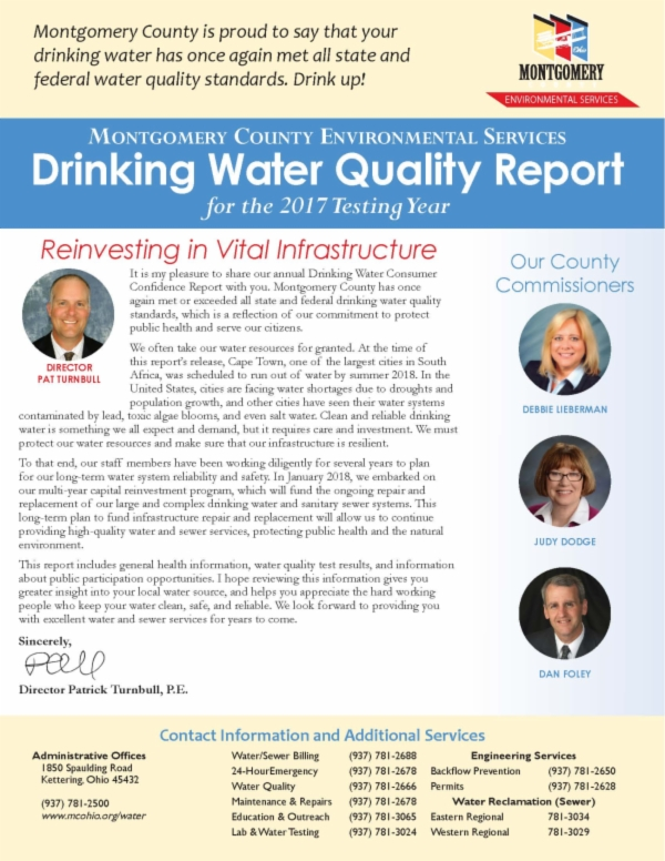 Montgomery County Drinking Water Quality Report Page
